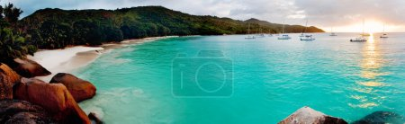 Photo for Panoramic view of a tropical beach at dawn. Anse Lazio, Praslin island, Seychelles, Indian Ocean. - Royalty Free Image