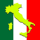 Italy map over national colors abstract vector art illustration