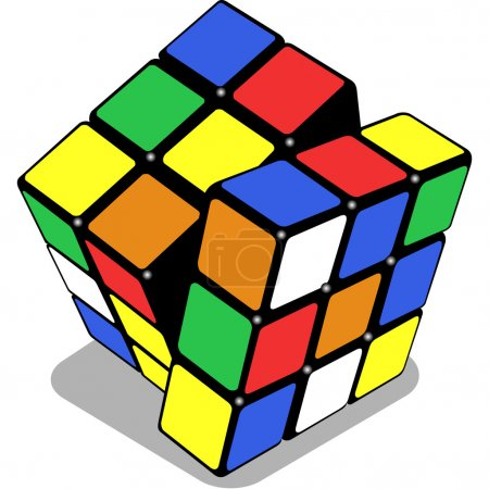 Illustration for Rubik cube isolated on white background, abstract vector art illustration - Royalty Free Image