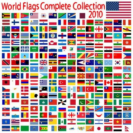 Illustration pour Collection de drapeaux au monde, abstract vector art illustration - image libre de droit