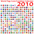 World flags icons collection, abstract vector art ...
