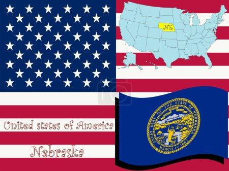 Nebraska state illustration