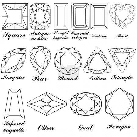Stone shapes and their names vector