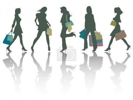 Illustration pour Silhouettes de filles shopping sur fond blanc, abstract vector art illustration - image libre de droit