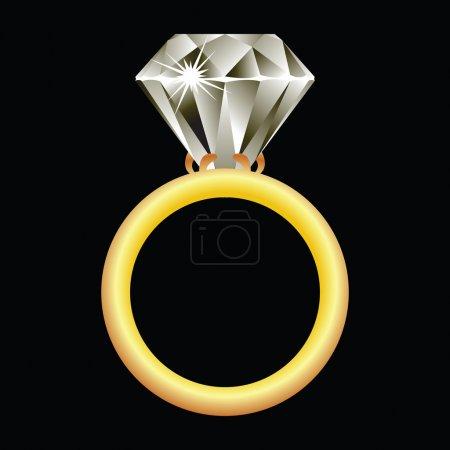 Diamond ring against black