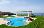 Swimming pool with jacuzzi at the beach of modern luxury villa,