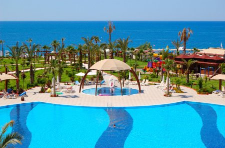 Swimming pool at luxury hotel, Antalya, Turkey