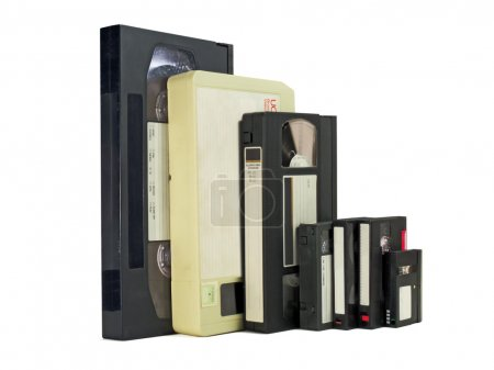 Many different formats of videotapes, old and new,...