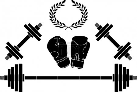Weights and boxing gloves. vector illustration...