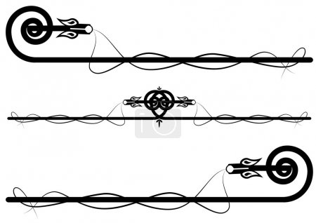 Illustration pour Ensemble des dragons celtiques abstraits en noir - image libre de droit