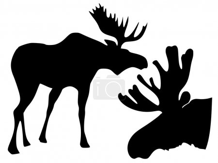 Illustration for Silhouette of moose - Royalty Free Image