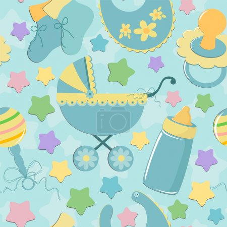 Seamless background baby's objects