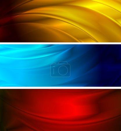 Illustration pour Bannières abstraites en soie (NO gradient mesh, eps 10 ) - image libre de droit