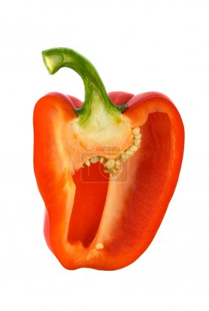 Photo for Fresh cut red bell pepper on white - Royalty Free Image