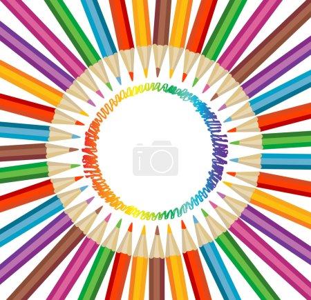 Illustration pour Fond avec crayons de couleur - image libre de droit