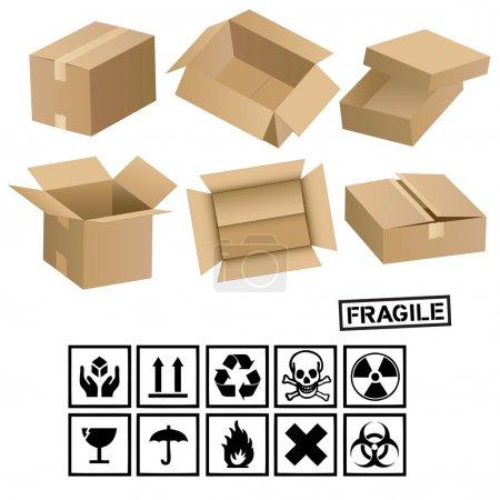 Ilustración de Las señales y las cajas de carga - Imagen libre de derechos