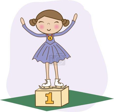 Illustration pour Patineur artistique 1er sur le podium gagnant . - image libre de droit