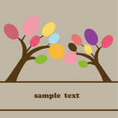 Abstract trees Vector retro card