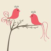 Abstract birds couple Vintage vector illustration Birds couple in love