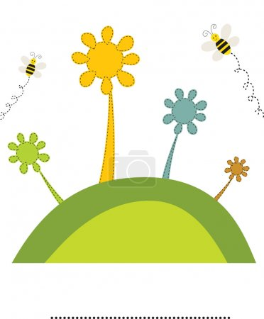 Abstract flowers and bees on the green hill. Vector retro card.