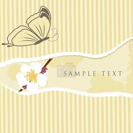 Illustration pour Carte de vœux vintage avec fleurs de cerisier et papillon. Illustration vectorielle - image libre de droit