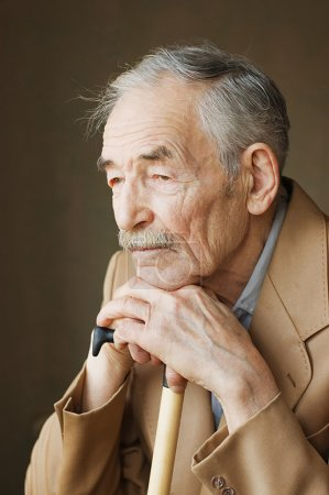 Photo for Old man with moustaches in a jacket - Royalty Free Image