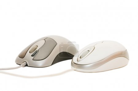 Computer mouse with cable on white