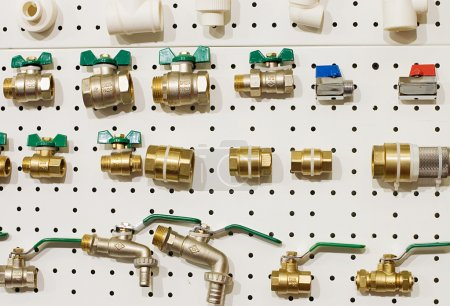 Set of water valves at the stand