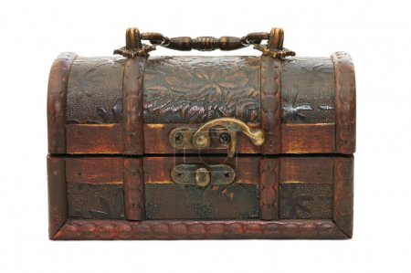 Single closed wooden chest