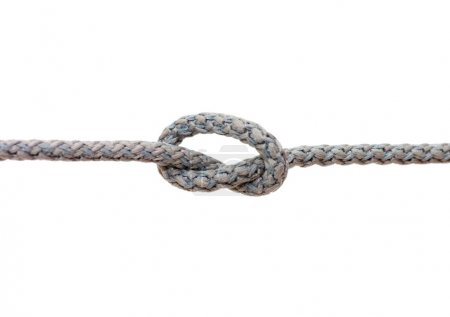 Knot on a cord isolated on white background