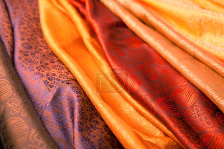 Photo for Silk scarves from India in a marketplace. - Royalty Free Image