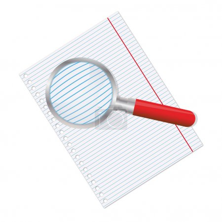 Illustration for Empty sheet of paper from a notebook and magnifier - Royalty Free Image