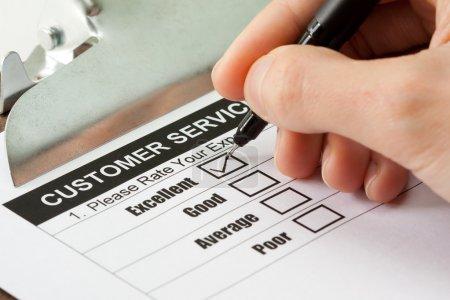Photo pour Excellente expérience case dans le formulaire d'enquête service clientèle - image libre de droit