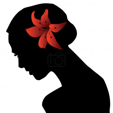 Photo for Portrait silhouette of beautiful woman with flower - Royalty Free Image
