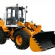 Yellow tractor with a ladle separately on a white ...