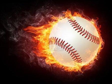 Photo pour Balle de baseball sur le feu. graphismes en 2D. conception par ordinateur. - image libre de droit