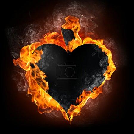 Photo pour Carte de pique dans le feu. Infographie. - image libre de droit