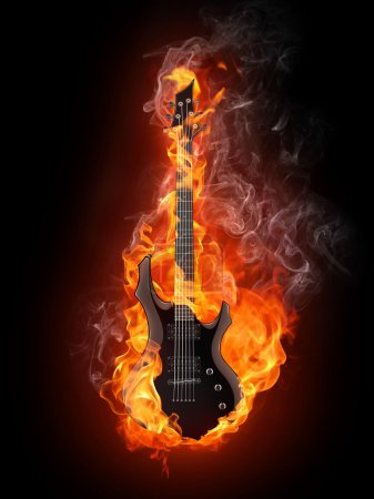 Photo for Electric Guitar in fire Isolated on Black Background. Computer Graphics. - Royalty Free Image