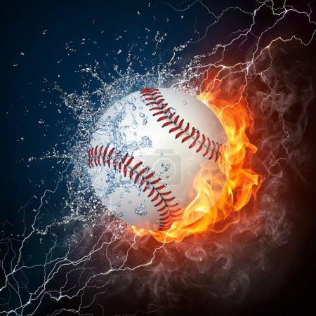 Photo pour Balle de baseball sur le feu et l'eau. graphismes en 2D. conception par ordinateur. - image libre de droit