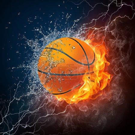 Photo pour Ballon de basket sur le feu et l'eau. graphismes en 2D. conception par ordinateur. - image libre de droit