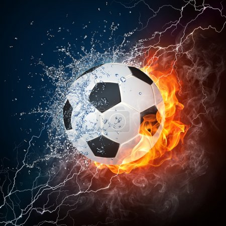 Photo for Soccer Ball on Fire and Water. 2D Graphics. Computer Design. - Royalty Free Image