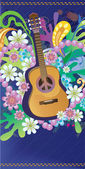 Composition with guitar flowers and symbol of peace