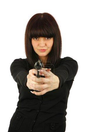 Yong smiling girl with a gun