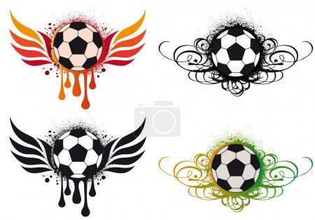 Grungy football with wings