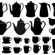 Coffee pot and cup silhouettes, vector design elem...