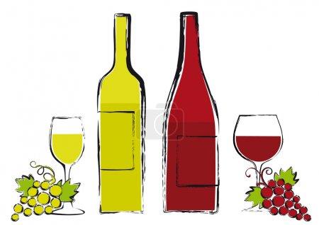 Illustration pour Bouteilles de vin rouge et blanc avec verres et raisins, illustration vectorielle grunge - image libre de droit