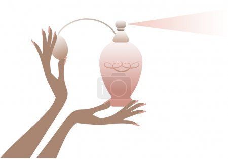 Hand with perfume bottle, vector