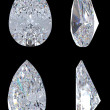 Top, bottom and side views of pear diamond. Over b...