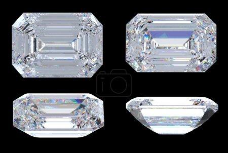 Top, bottom and side views of Emerald diamond