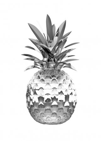 Chromed ananas with reflection isolated